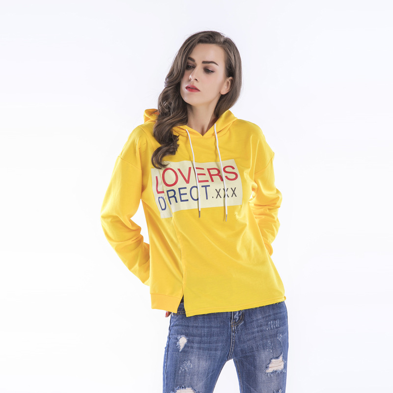 Spring And Summer New Style Printed Sweatshirts Hooded Loose Sweatshirts Yellow Sweatshirts