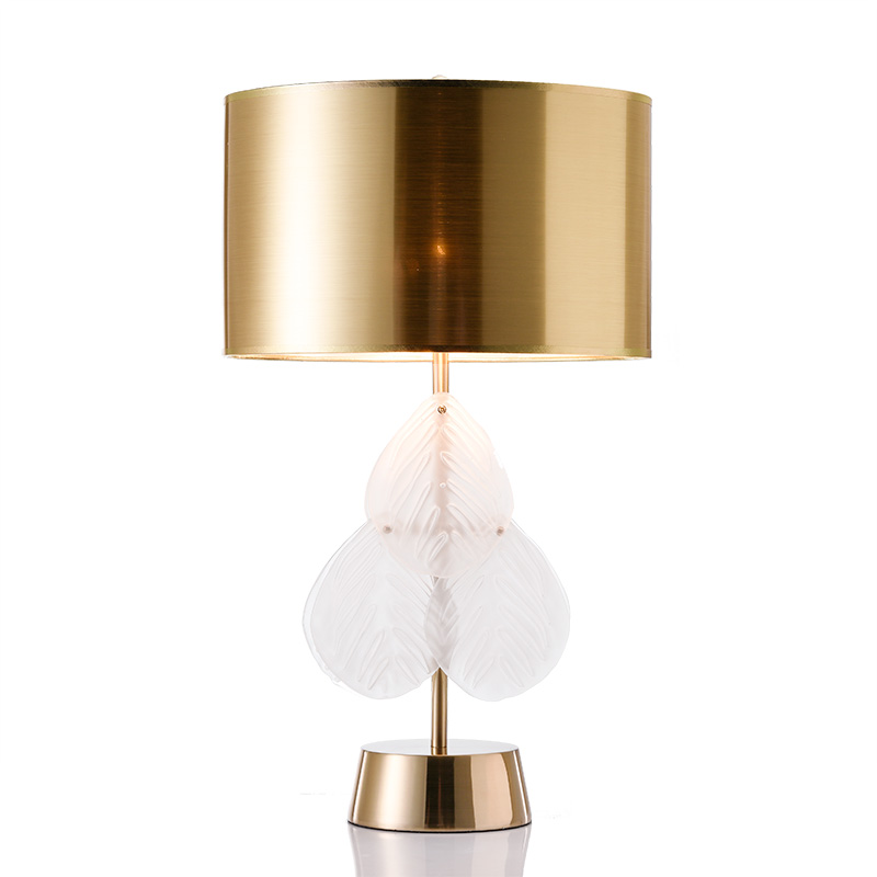 Creative glass crystal leaves desk lamp gold table lamps ...
