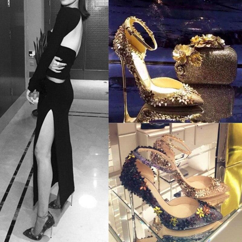 Paillettes tissu fleur décor pompes bout pointu parti stiletto chaussures nighe club mariage mariée femme brillant chaussures spécial chaussures - 2