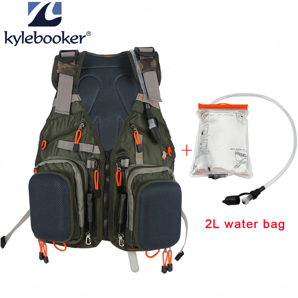 Fly Fishing Vest Fishing Backpack Outdoor sports Backpack Bag +2L Hydration Water Pack Bladder, Water Reservoir Bag cheap sale hydration water bladder bag cleaning tube hose sucker brushes drying rack set