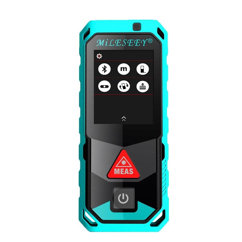 Новый Mileseey T7 40 м 60 м 100 м Bluetooth лазерный дальномер с поворотным Сенсорный экран Rechargerable лазерный измеритель
