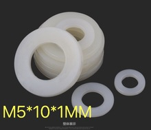 200pcs/lot  M5X10X1MM Thickness:1mm Nylon washers Insulation flat plastic gasket ring