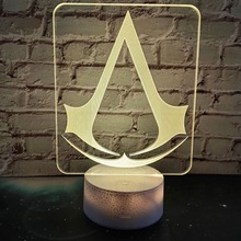 3d Led Night Light Lamp Game Assassins Creed Logo Nightlight Gift for Kids Bedroom Decor Color Changing Child Study Room