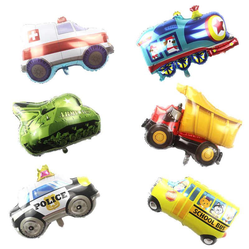 KAMMIZAD 1pc Vehicle series balloons Happy 7 Birthday kids Party Decorations car ballonnen baby gift tank train Fire truck globo