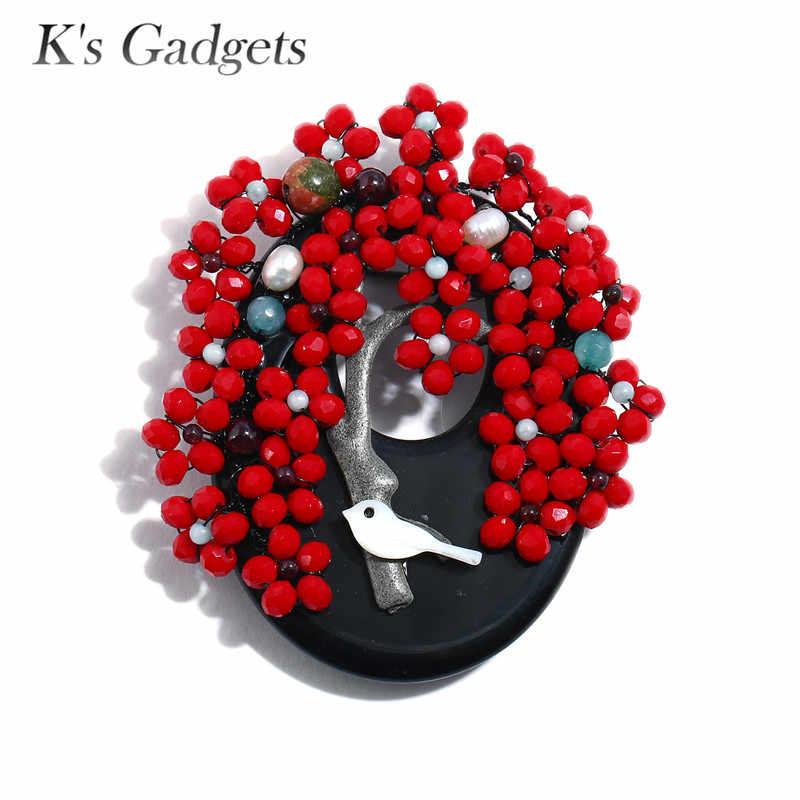 K's Gadgets Vintage Brooches สำหรับผู้หญิงคริสตัลหินธรรมชาติลูกปัด Pins และเข็มกลัด Shell Bird อะนิเมะความปลอดภัย Pin เข็มกลัด