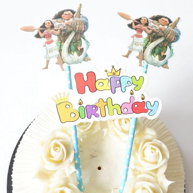 1set Moana Cake Picker Birthday Cake Flag Moana Cake Flags Happy