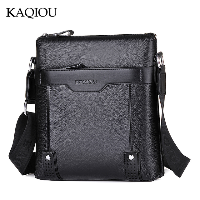 KAQIOU 2018 New Men Briefcase Bag Genuine Leather Man Crossbody Shoulder  Small Business Bag Messenger Men Bags Genuine Leather 9dac3f2949973