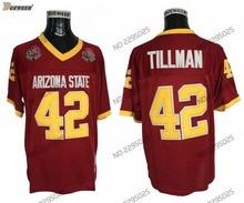 9306a0f12 DUEWEER Mens Throwback Arizona State Sun Devis #42 Pat Tillman College  Football Jerseys ASU Maroon
