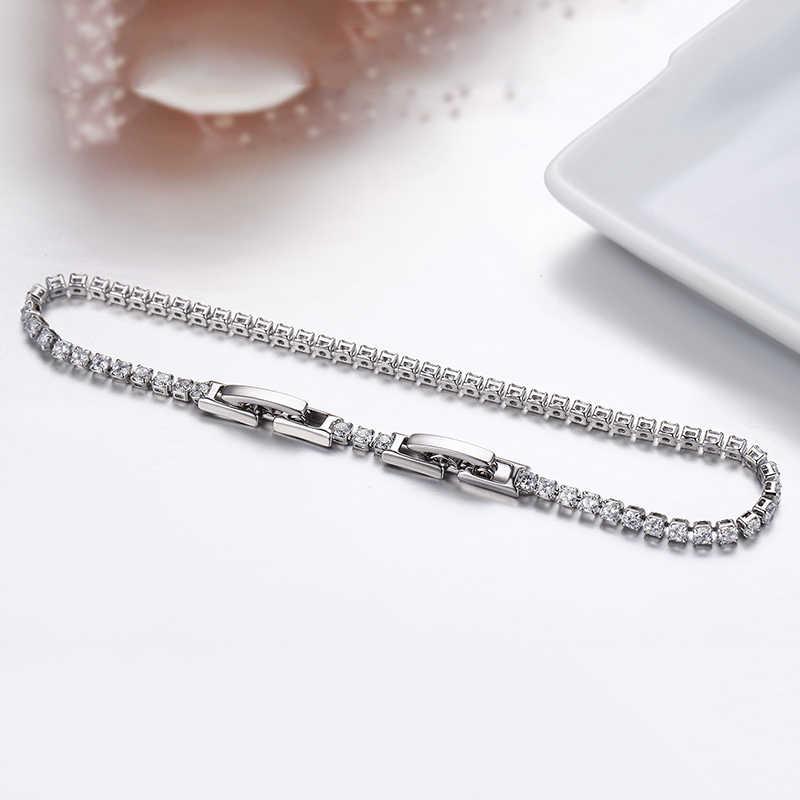 Śliczne 2mm Cluster Prong zestaw CZ tenis Link Chain cienkie białe złoto kolor bransoletki dla kobiet dziewczyn przyjaciel biżuteria Pulsera Bracciali