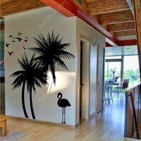 Envío libre grandes árboles de palma bird adhesivo vinly tatuajes de pared arte mural etiqueta de la pared decoración para el hogar