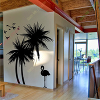 Free Shipping Large Palm trees Bird adhesive Vinly Wall Decal Art Mural Wall Sticker Home Decor