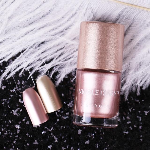 Nicole diario Rosa oro metálico Esmaltes de uñas efecto espejo color ...