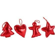 4pcs/set Christmas Tree Decoration Gifts Ornaments hanging Pendants Star Angel Heart Shape Gift xmas decor