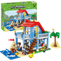 470PCS MY World Beach House 3 Models Building Blocks Sets DIY Toys For Kids Compatible LegoINGLY Minecrafted City Creator Bricks