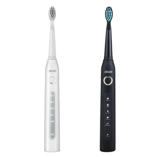 Seago SG-507 USB Rechargeable Sonic Electric Toothbrush Adult Waterproof Deep Clean Teeth Whitening Brush + 2 Replacement Heads Electric Toothbrushes