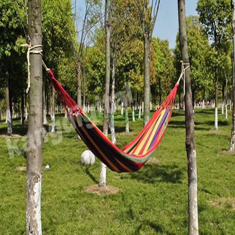 Outdoor Hammock Portable Cotton Rope Swing Fabric Camping Hanging Hammock Canvas Bed Y084 HOT SALE furniture size hanging sleeping bed parachute nylon fabric outdoor camping hammocks double person portable hammock swing bed