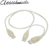 Transparent USB 2.0 Y Type Splitter Data Cable 1 Male to 2 Male 3A Male for external Mobile hard disk Drive with Extral Power