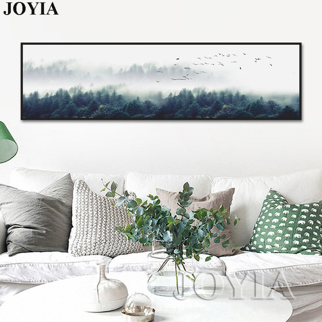 nordic decor foggy forest wall art poster misty landscape canvas