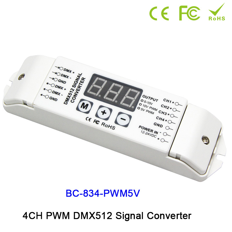 4CH PWM 5V/PWM 10V signal DMX512 Signal Converter,3-digital-display shows,DC12V-24V,DMX512 led driver controller pwm 0 10v digital to analog signal tranformer converter module mach3 plc