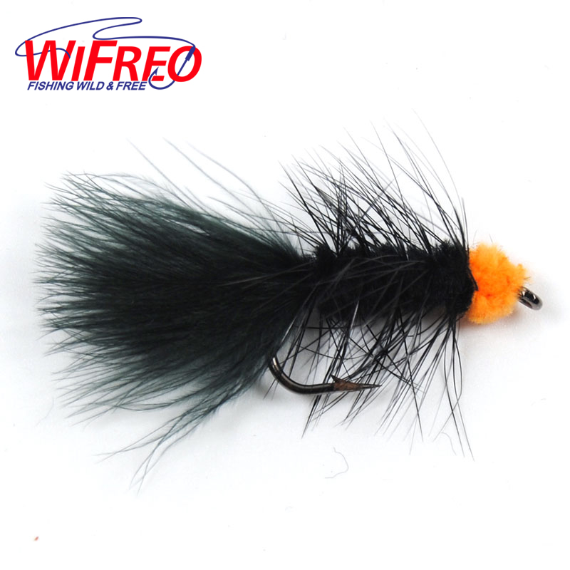 Wifreo 10PCS 6# Fly Fishing Insect Black Orange Egg Sucking Leech Wooly Streamer Fly Trout Fly Fishing Baits Marabou Flashabou mnft 10pcs 8 black woolly bugger black color with flashabou crystal decorated tail fly fishing lure streamer bead golden head