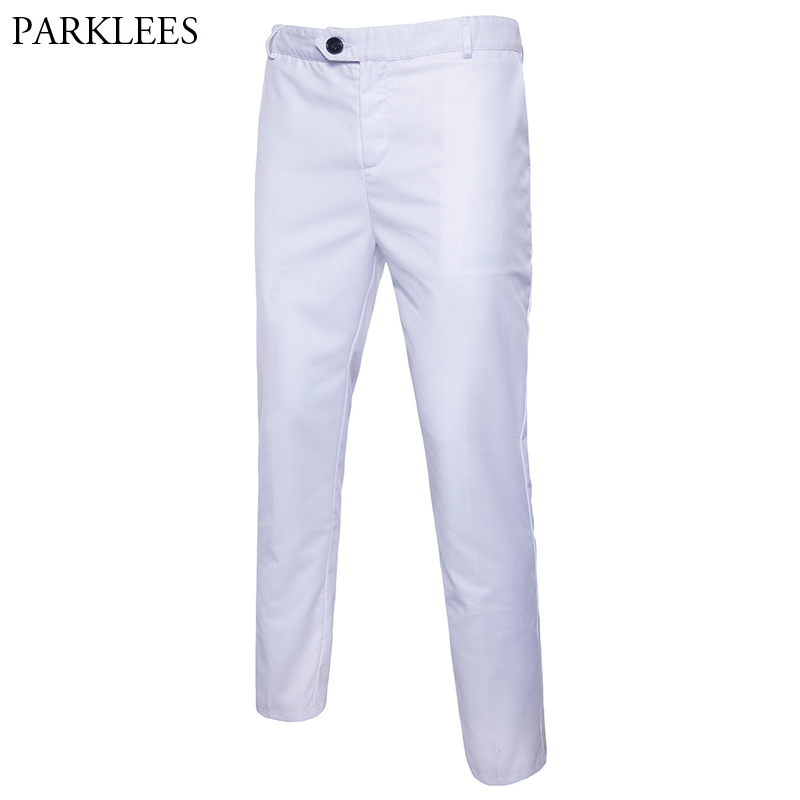 White Slim Fit Straight Dress Pants Men 2019 New Formal Business Trousers Male Flat Front Casual Wedding Groom Suit Pants Male