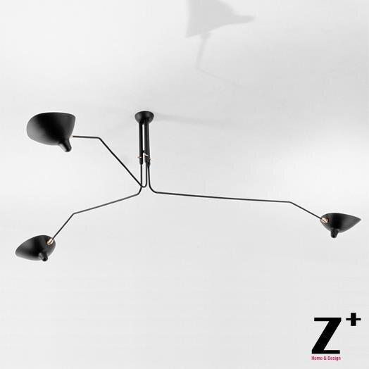 Replica Item Serge Mouille Lights Designer Lighting Rion Black White Three Arms Ceiling Lamp