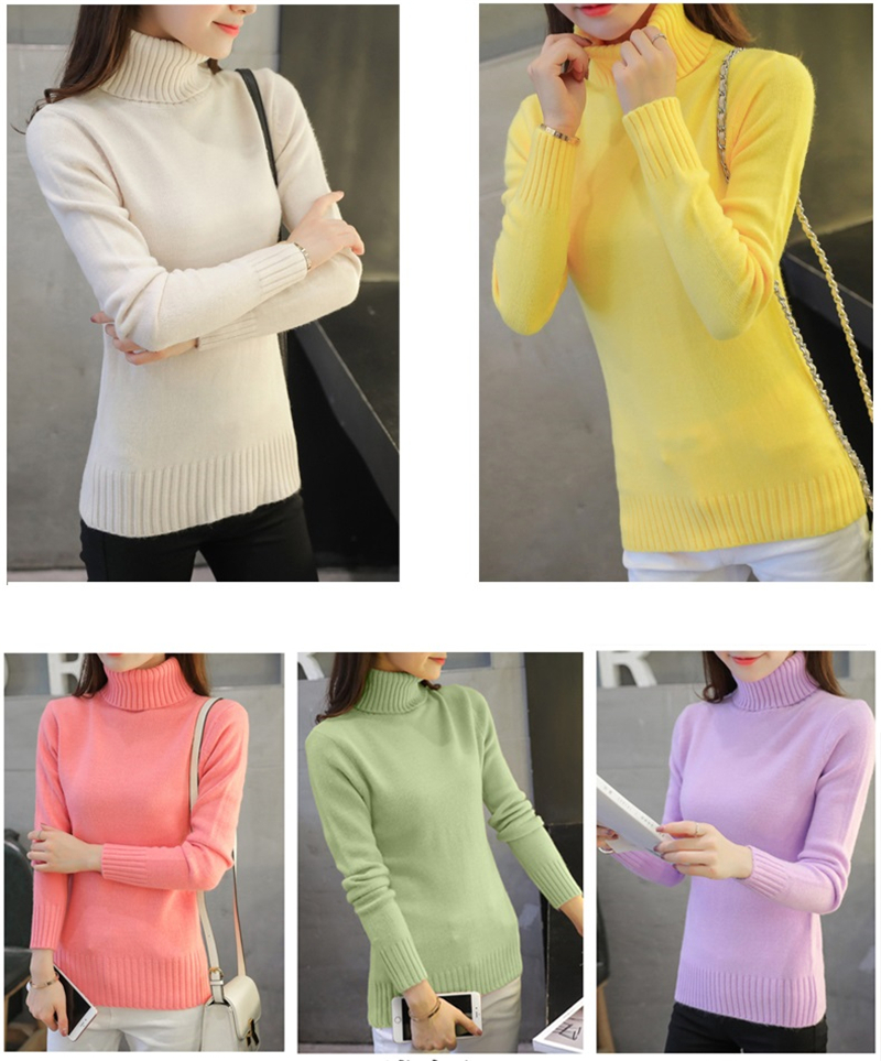 18 New Autumn winter Women Knitted Sweaters Pullovers Turtleneck Long Sleeve Solid Color Slim Elastic Short Sweater Women K861 4