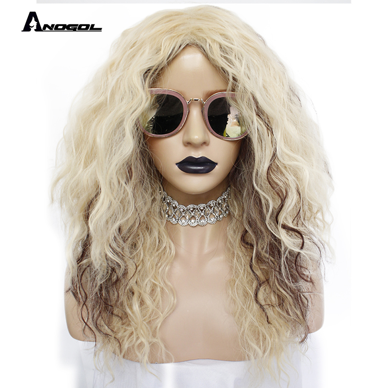 Anogol Brand New 70s 80s Disco Rocker Wig Long Kinky Curly Gold Blonde Brown Synthetic Wig For Female Mullet Role Play Party