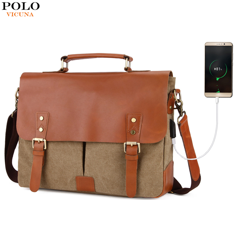 VICUNA POLO Genuine Leather Men Handbag With USB Cable Canvas Laptop Briefcase Casual Men Business Bag Leather Briefcase Black aetoo with leather handbag section briefcase men and women fashion personality business package canvas laptop bag 15 inch
