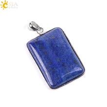 цена CSJA Lapis Lazuli Square Pendant & Necklace Rectangle Natural Stone Charms Jewellery for Women Men Necklaces Free Shipping E786 онлайн в 2017 году