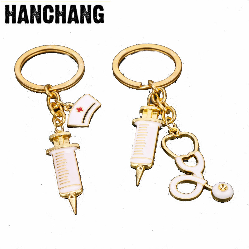 Syringe Stethoscope Keychain Key Chain For Cosplay Doctor Nurse Physicians Medical Student Graduation Jewelry Gifts