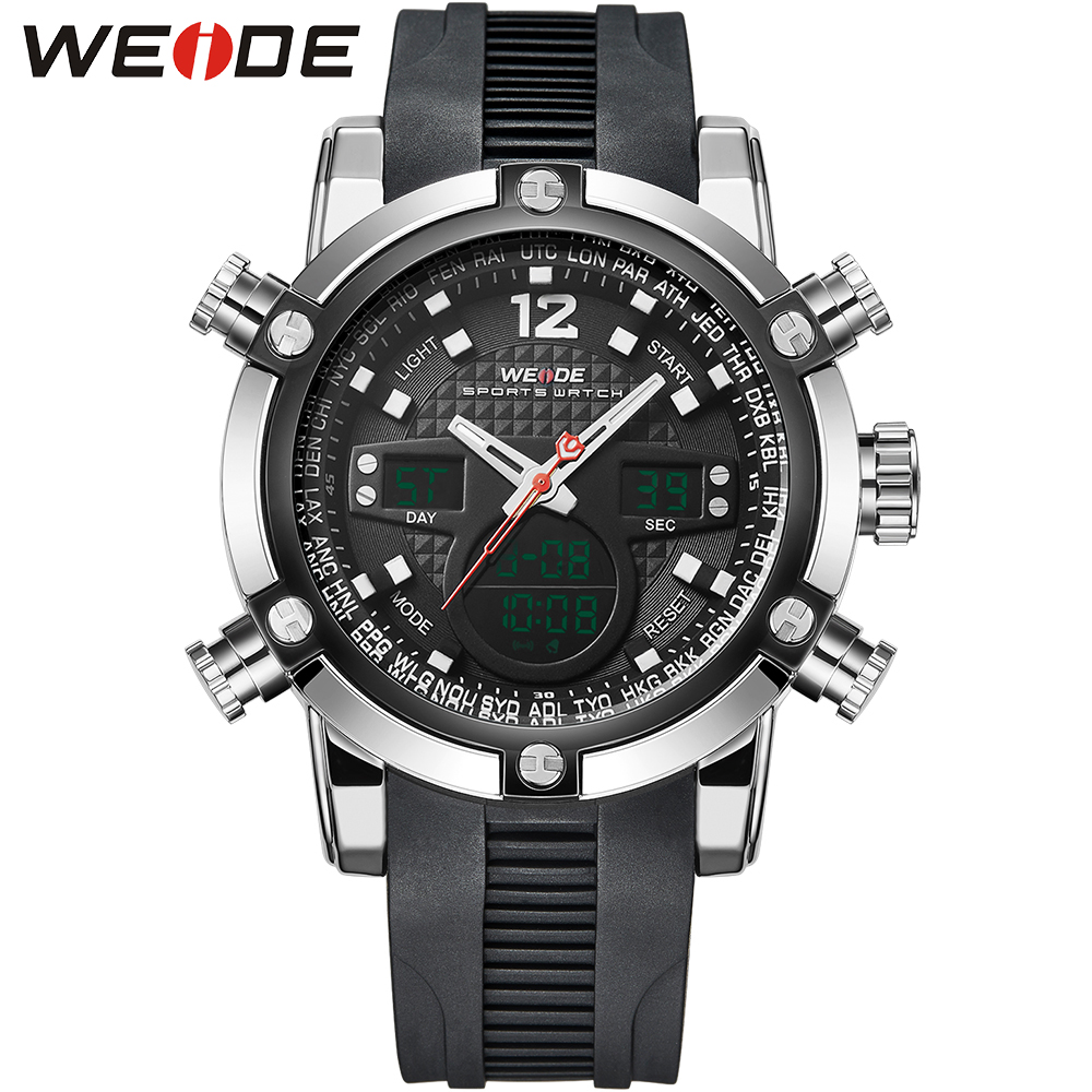 WEIDE Sport Watch Mens Quartz Watches Rubber Silicone Wrist Watch LCD Alarm Military Sports Digital Watch
