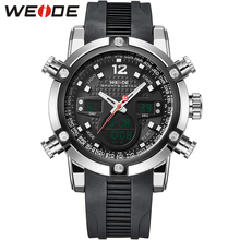 WEIDE Sport Watch Mens Quartz-Watches Rubber Silicone Wrist Watch LCD Alarm Military Sports Digital-Watch Men Whatch / WH5205