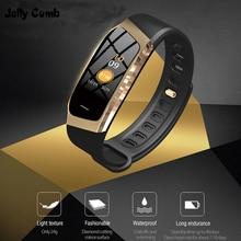 Galaretki grzebień inteligentny zegarek dla Android IOS ciśnienie krwi tętno monitora Sport zegarek do Fitness Bluetooth 4.0 mężczyźni kobiety Smartwatch