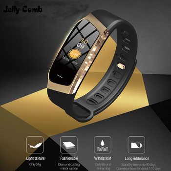 Gelatina Pettine Intelligente Orologio Per Android IOS Misuratore di Pressione Sanguigna Monitor di Frequenza Cardiaca della Vigilanza di Sport Fitness Bluetooth 4.0 Donne Degli Uomini Smartwatch