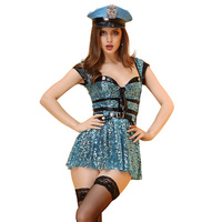 Mulher Traje Sexy Airline Stewardess Costumes Woman Police Cosplay Costume Girls Erotic Sparkling Sequin Fancy Party Dresses M L