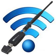 300Mbs 5dBi USB Tarjeta de Red Inalámbrica Tarjeta de Red WiFi Adaptador Inalámbrico y Antena Externa Todo El Mundo Negro