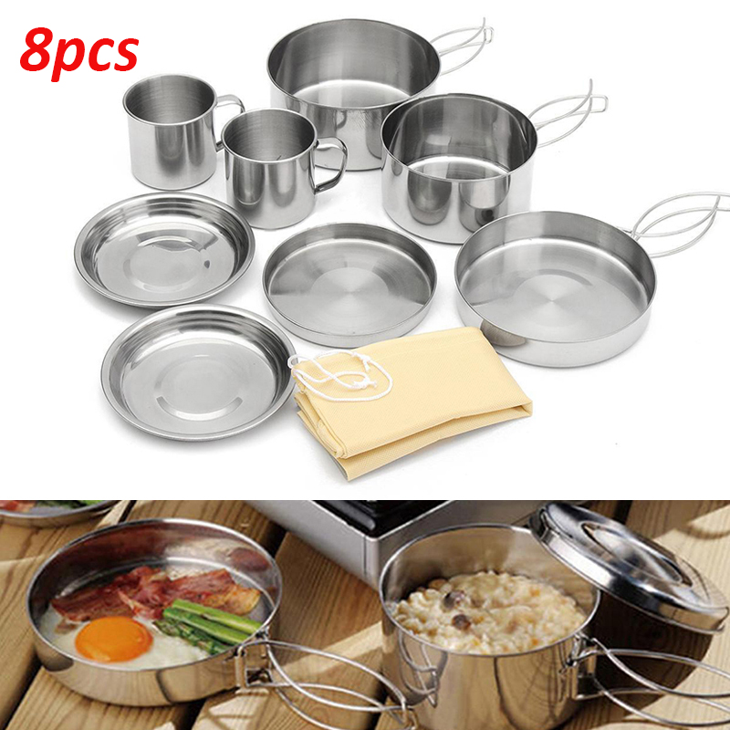 8 Pcs Set Stainless Outdoor Piknik Pot Pan Kit Camping Hiking