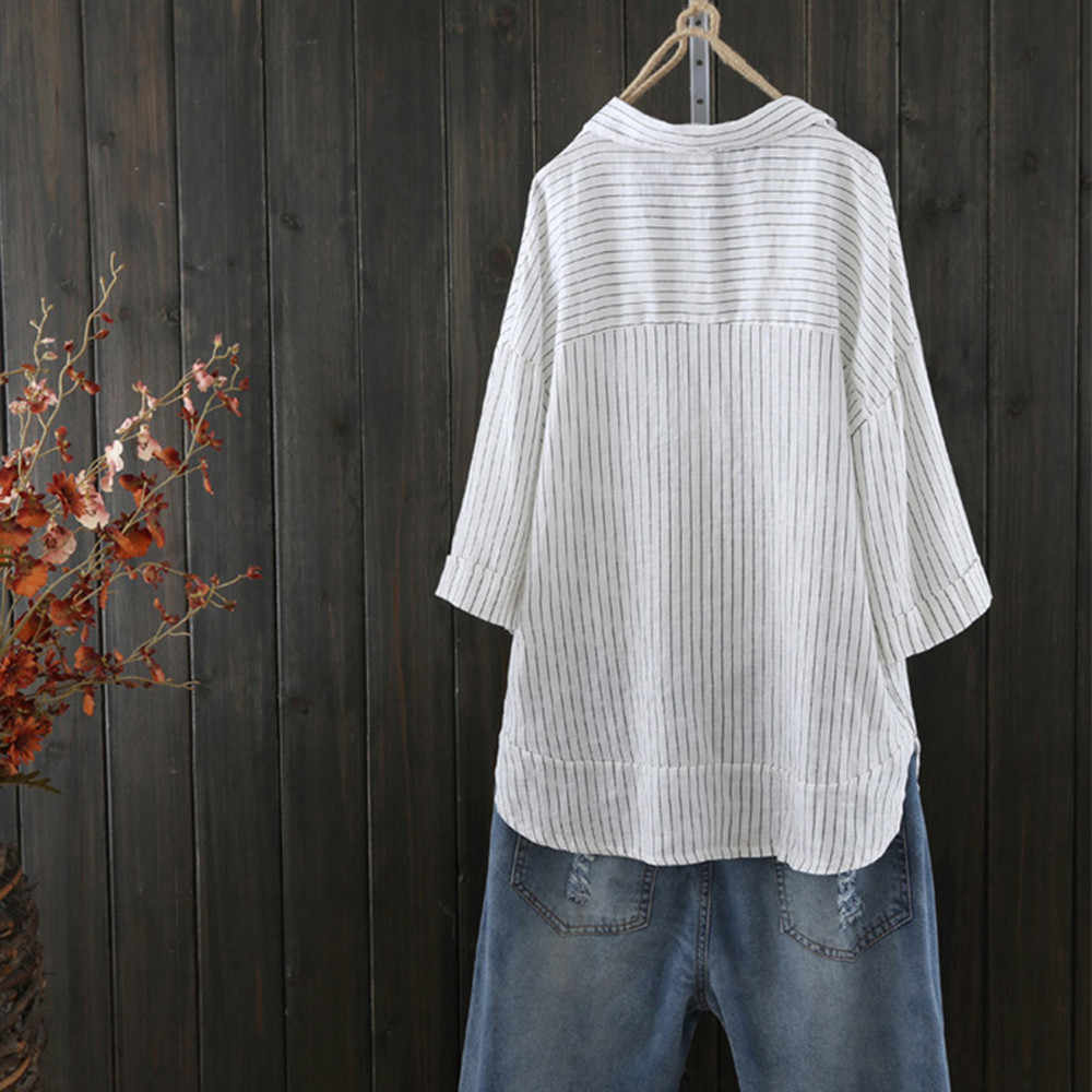 2ee977e0 ... Women Button Up Pullover Striped Top Shirt Plus Size Tunic Blouse 3/4  Sleeve Female ...