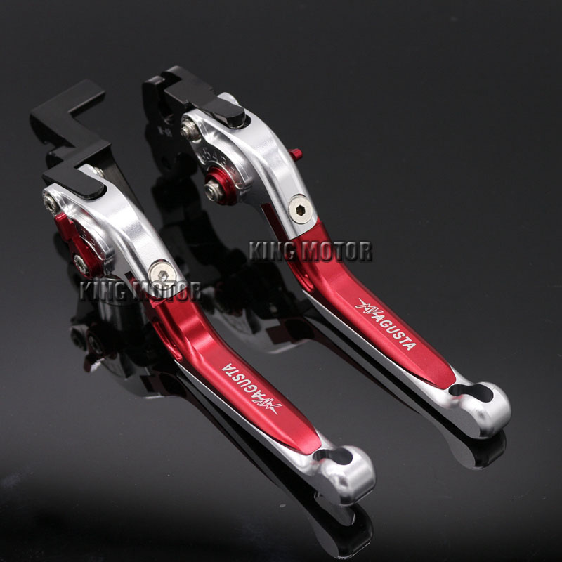 For MV AGUSTA Brutale 675 800 Motorcycle Accessories Adjustable Folding Extendable Brake Clutch Levers Silver+Red motorcycle accessories adjustable folding extendable brake clutch levers for mv agusta brutale 675 800