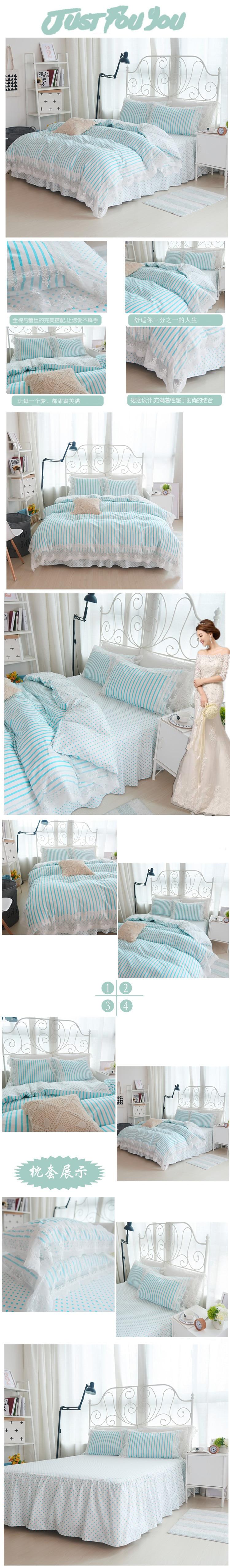 ᗔNueva Corea jardín floral cama juego de cama de algodón princesa