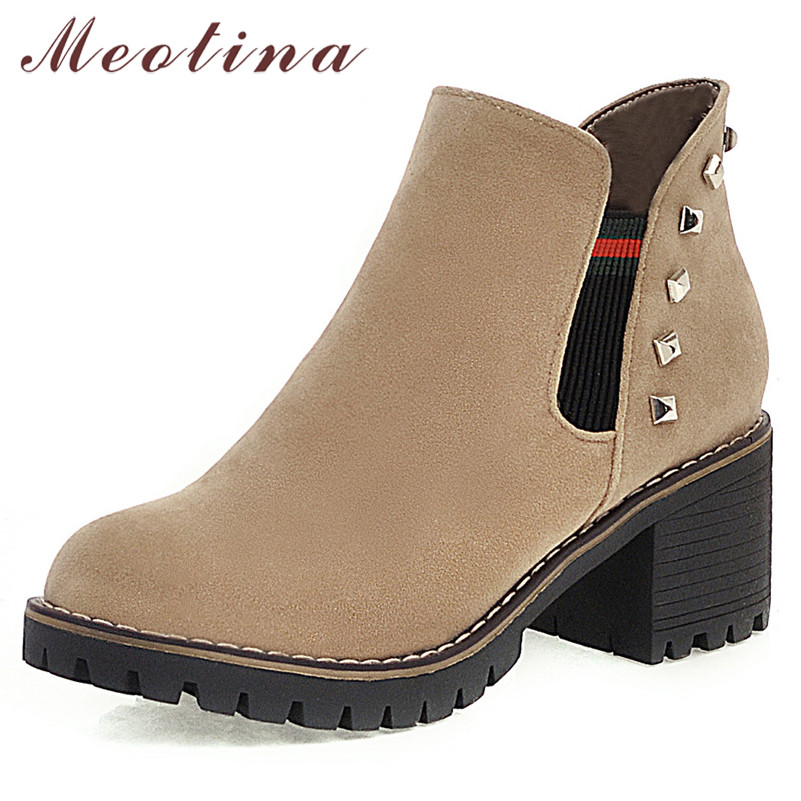 Meotina Short Boots Toe-Shoes Rivets High-Heels Round Female Autumn Big-Size 33-43 Slip-On