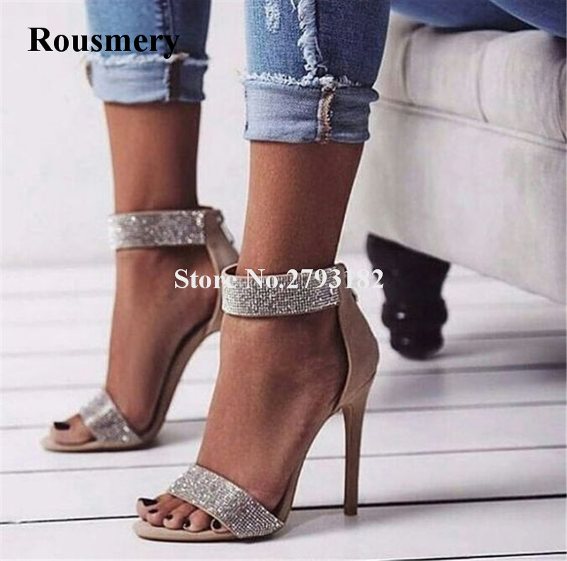 Femmes de luxe Bling Bling cheville strass Wrap gladiateur sandales une sangle cristal à talons hauts sandales robe de mariée chaussures