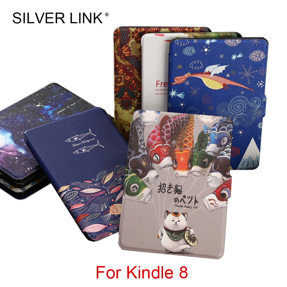 SILVER LINK 1X Printed Kindle 8 Case UP Skin For Kindle E-reader Slim Cover Ebook Auto Sleep/WakeUp Hard Shell Black/White chic fringed printed cover up