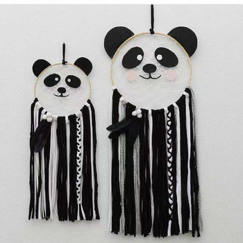 D Nordic Baby Scandinavian Soft Textile and Fabirc Panda and Wool Wall Hanging Wind Chimes Party Gift Kids Bedroom Decoration