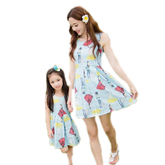 US $31.21 |Baby Girls Dresses Summer 2018 Matching Mother Daughter Dress  Plus Size Lady Collar Cotton Character Family Clothing Vestidos-in Matching  ...