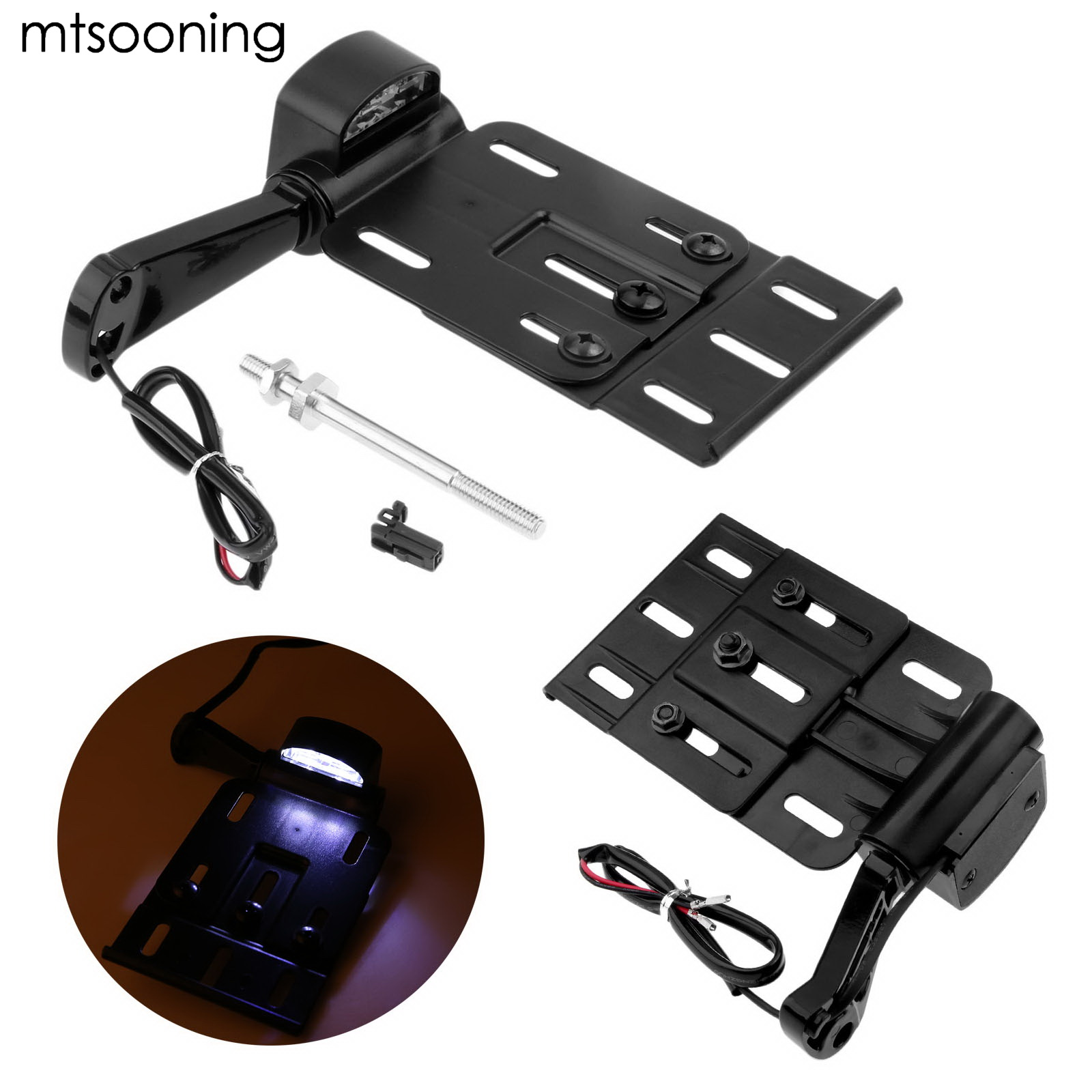 Mtsooning moto télescopique pliant lumière LED plaque d'immatriculation latérale support de cadre de lumières noires