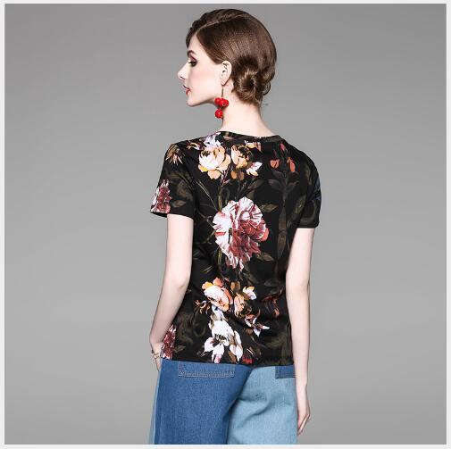 Casual D'o D'été Manches Courtes Slim Mode Black 2018 Impression Nouvelle Femmes Fit Haute shirt À Outwear T Qualité Chemise cou Femelle SMVzqpGU