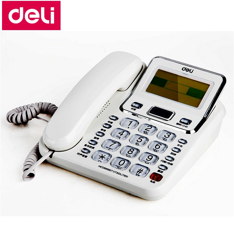 Deli 789 seat type telephone set corded telephone 3.5 LCD rotatable screen office household telephone set