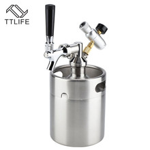 TTLIFE 1.8L Stainless Steel Beer Keg With Faucet, Pressurized Home Brewing Craft, Dispenser Growler, System